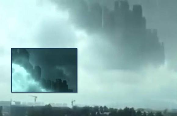 空中都市が中国江西省で突如として出現!