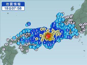 大阪地震の震度
